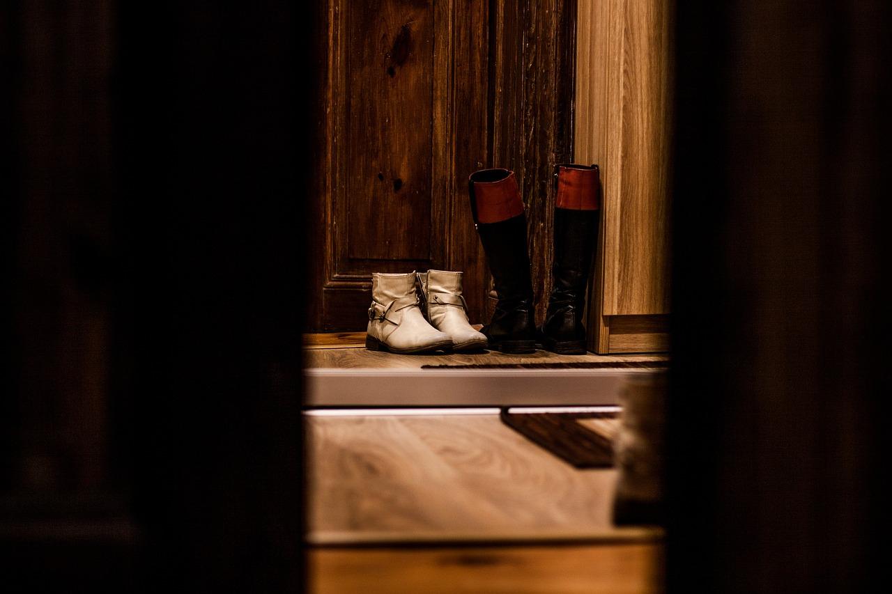 shoes, door