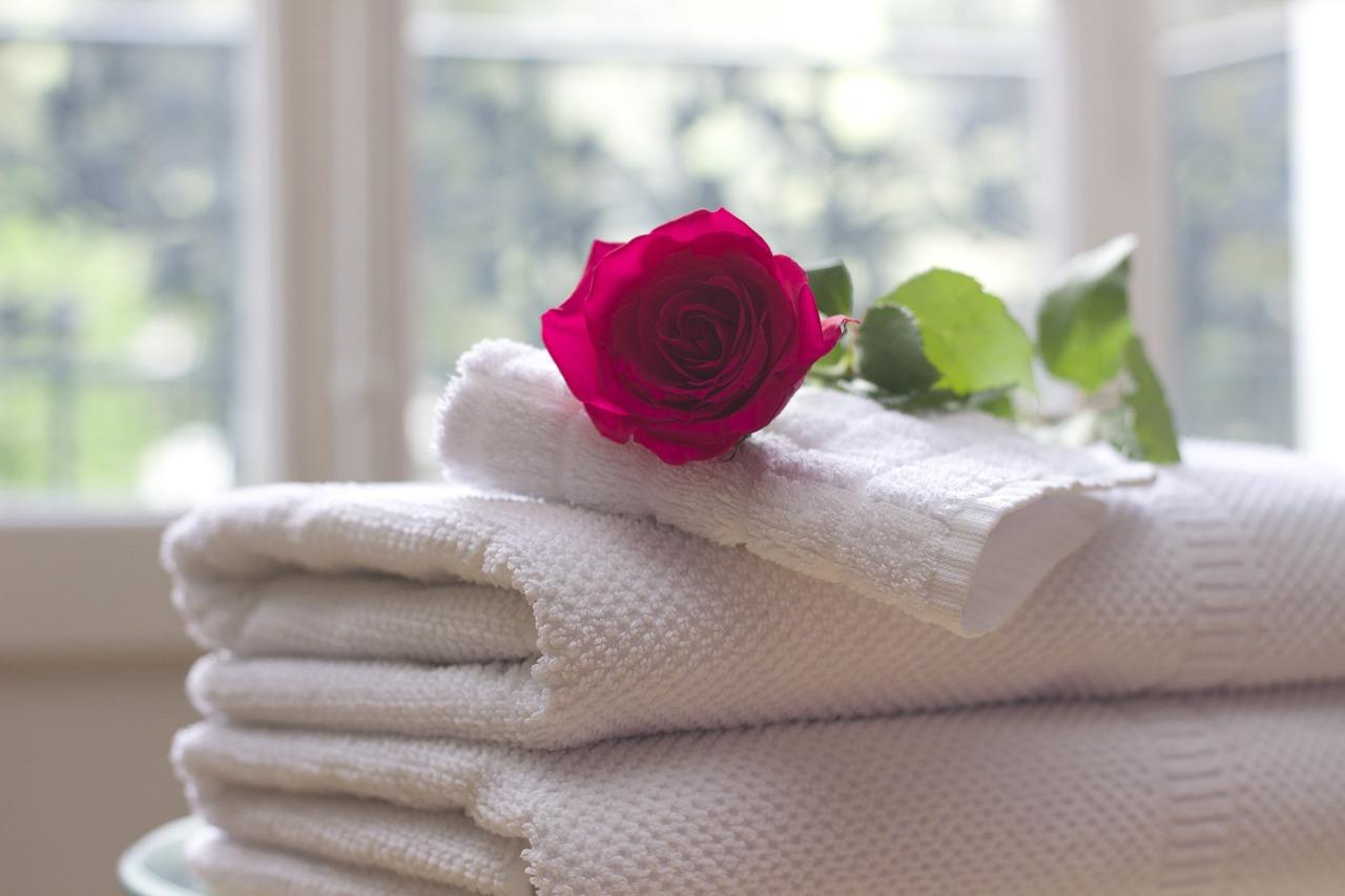 towel, rose