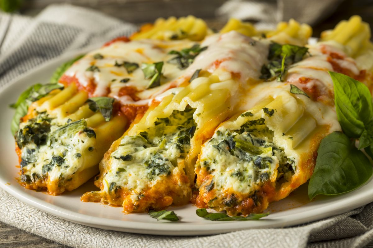 Ricotta and Spinach Manicotti with Basil