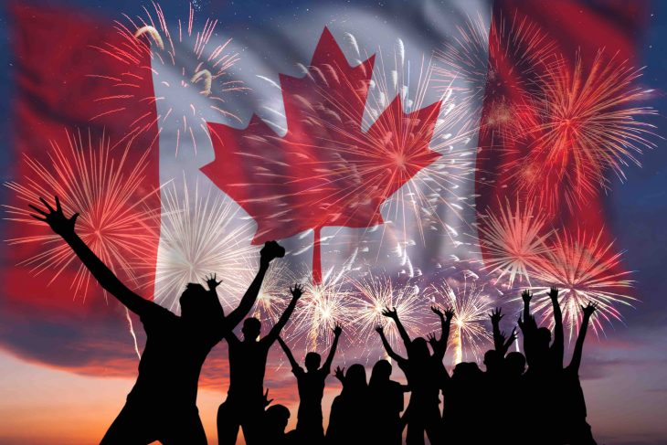 Canada Day, People celebrating with fireworks