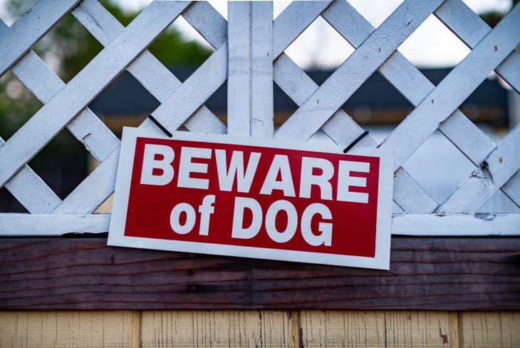 beware of dog sign, guard dog sign