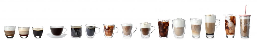 Different types of coffee beverages
