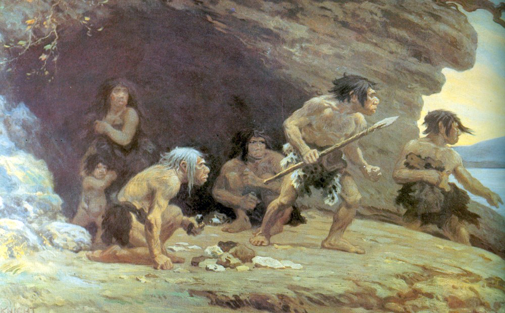Neanderthal Depiction, Neanderthal Illustration, Le Moustier Neanderthals