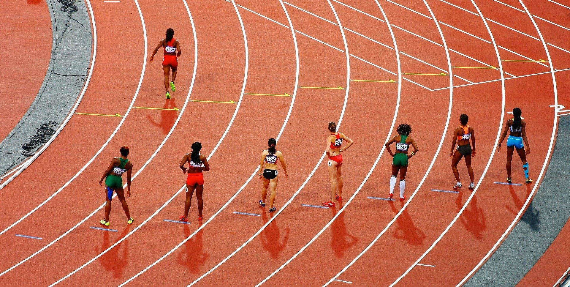 racetrack, runners, olympics