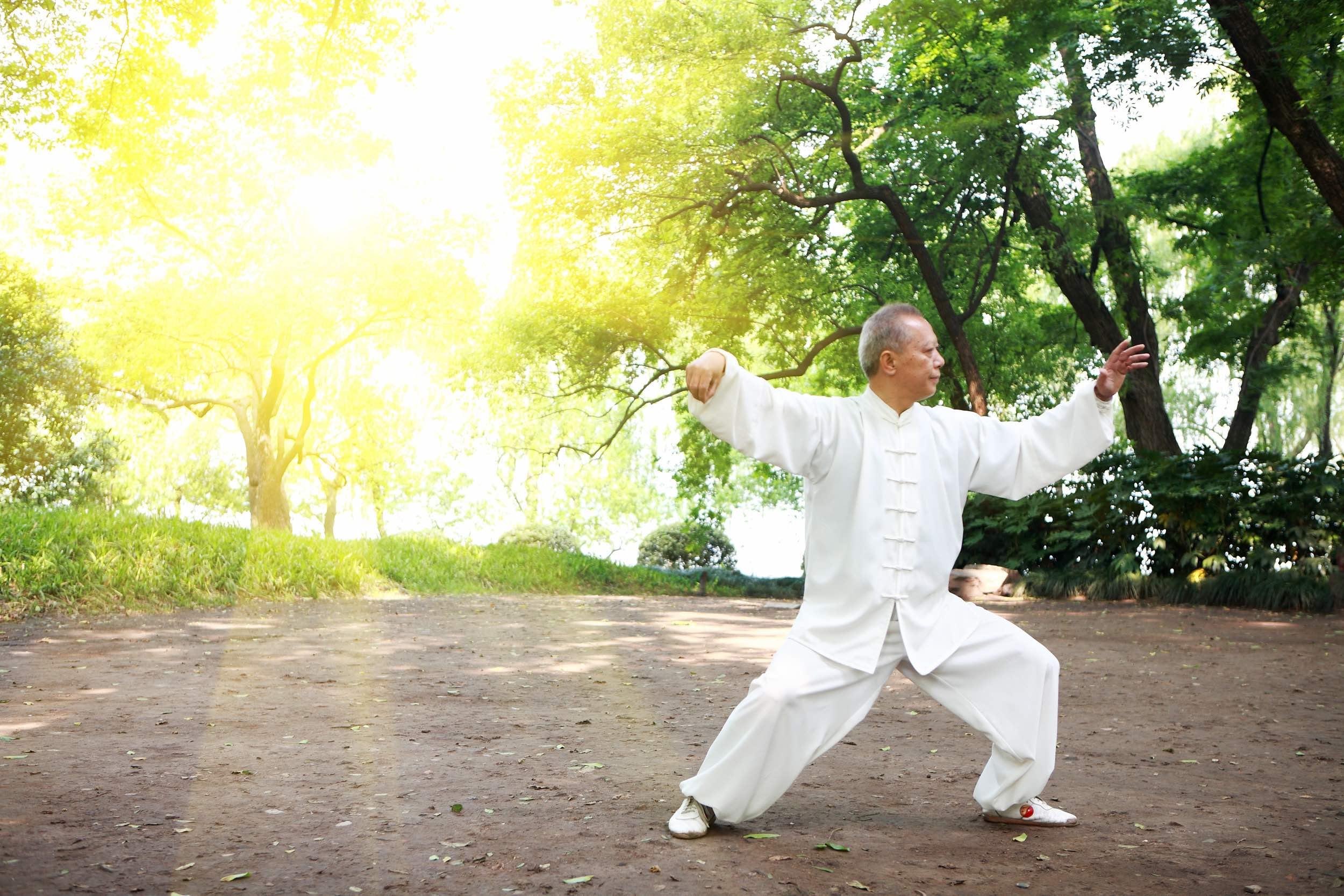 Chinese man doing tai chi