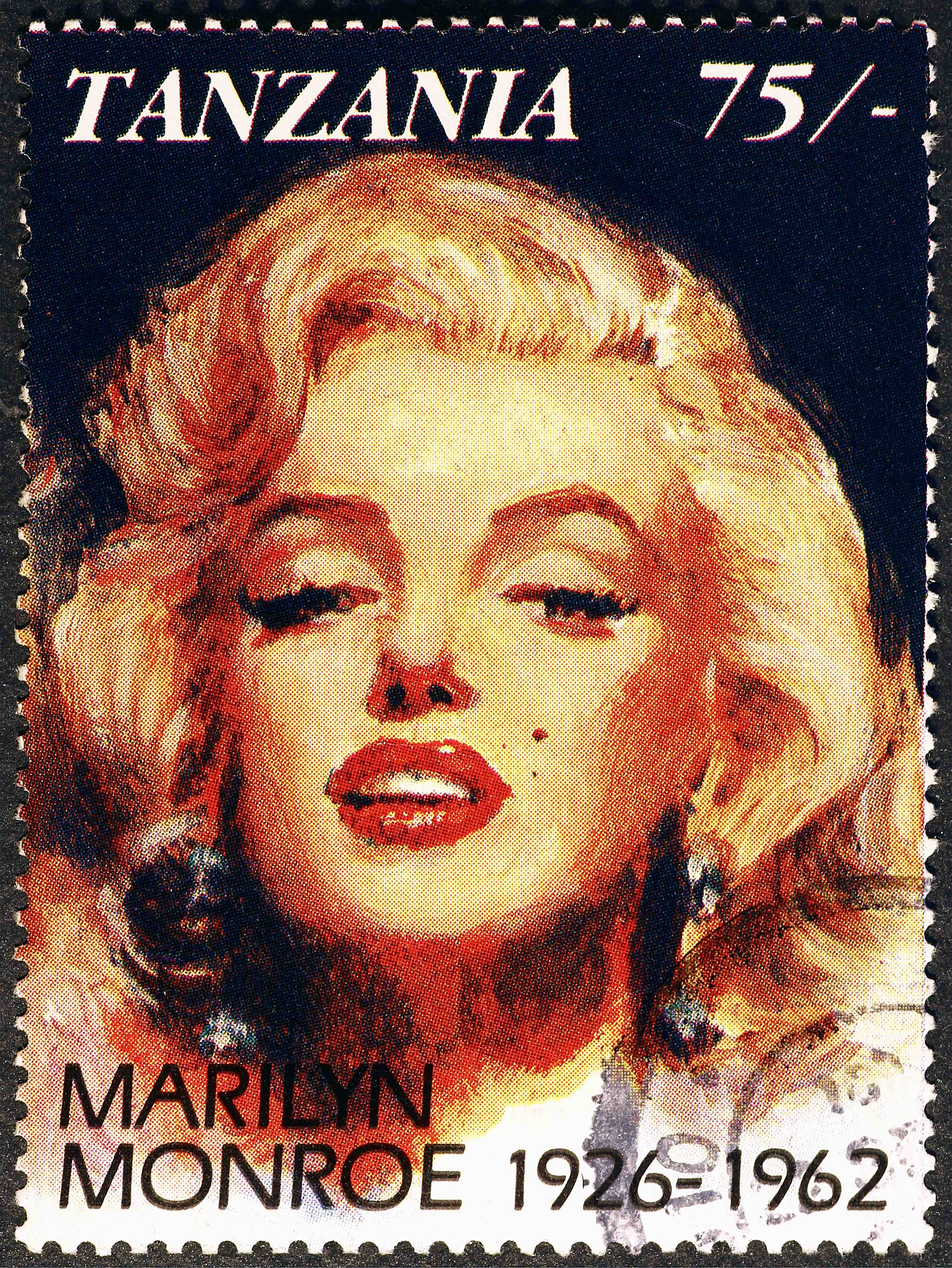 Marilyn Monroe portrait on stamp